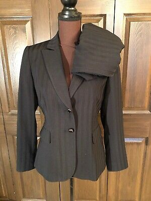 Tahari ASL Black On Black Stripe Pant Blazer Suit 4P