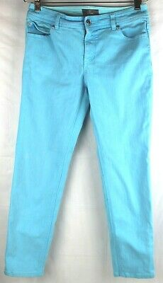 chicos so slimming womens size 0 blue jeans super stretch crop pants turquoise