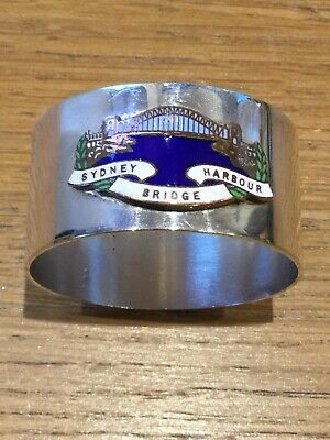 Silver Plate Australian Napkin Ring With Enamel Coat Of Arms For Canberra