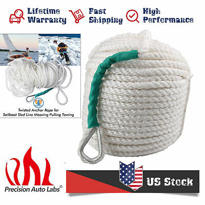"""1//2/""""x100/' White Twisted Nylon Anchor Rope//Line with Thimble Boat Rode 5850LB"""