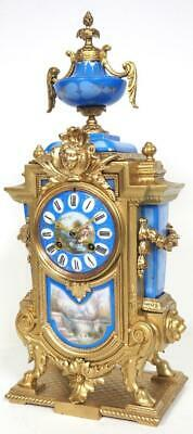 Antique French Sevres Mantel Clock 8 Day Carved Bell Striking Mantle Clock C1870