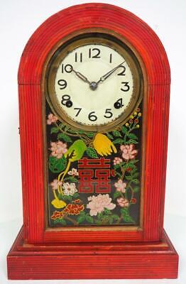 Japanese Shelf Clock Floral Hand Painted Glass Panel Mantel Clock C1900