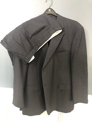 Stafford Mens Charcoal Gray Pinstripe Pleated Front Single Vent 2 Piece Suit 50R