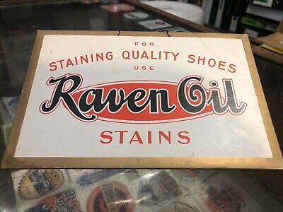 Raven Oil Stain Quality Shoes Cardboard Genuine Advertising Sign Vintage