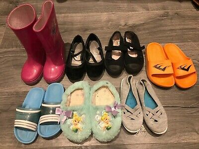 7 X Pairs Of Girls Shoes Size 10 Infant Wellington Pumps Flip flop Sleepers