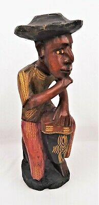 Vintage Carved Wood Statue of A Bongo Drummer Haitian or Caribbean Carving