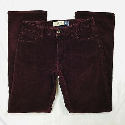 Gap Womens Bootcut Corduroy Pants Size 8 Burgandy Purple Mid Rise Stretch