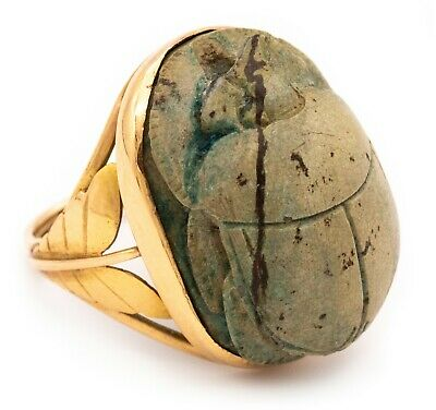 Edwardian 1910 Egyptian Revival 14 Kt Ring With A 660 Bc Scarab 26Th Dynasty