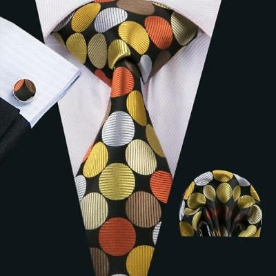 LUXURY GIFTSET Mens Black Yellow Polka Dot Silk Tie Handkerchief Hanky Cufflinks