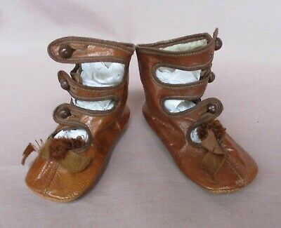 Antique Golden Brown Leather Girls' Children's High button Shoes Straps  Pompoms