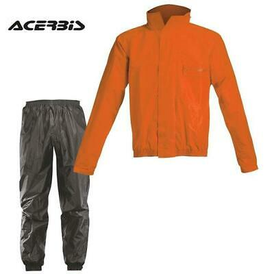 Complete Set Waterproof Motorcycle Acerbis Rain Suit Black Logo/Orange ( TG. )