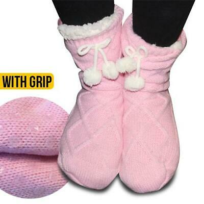 Snuggle Pink Bed Socks Fluffy Fur Lined Nonslip sole warm/cosy 1 Size Fits mos