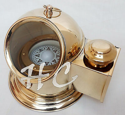 Vintage Brass Floating Dial Binnacle Gimbled Compass Nautical Ship/Boat Oil Lamp