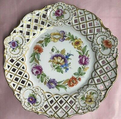 """Antique Dresden Reticulated Hand painted Flowers/Gold. 9"""".plate."""