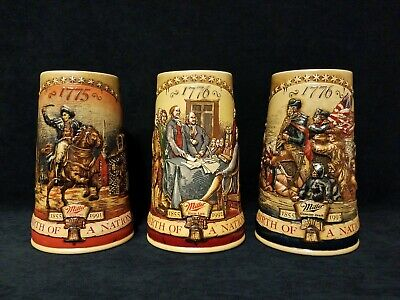 "Miller High Life Birth of a Nation Beer Steins Lot Set of 3 Mugs 7"" 1775 1776"