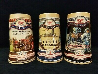 "Collectible Miller Beer Steins Lot of 3 ""Great American Achievements"" 1986-1990"