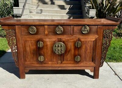 Chinese Antique Huanghuali Three Drawer Coffer Qing Dynasty
