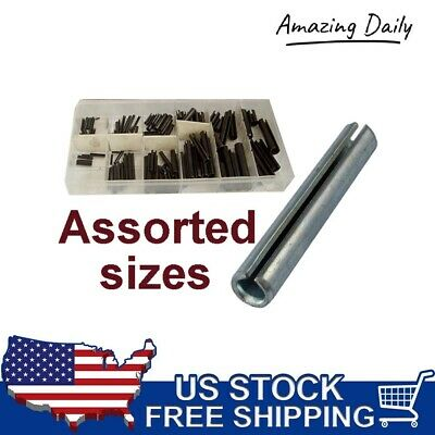 120 Pc Roll Pin Assortment Set Steel Split Spring Dowel Tension Fasteners Snap