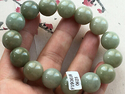 Certified natural A grade oil green jadeite 14mm Round elastic jade bracelet 625