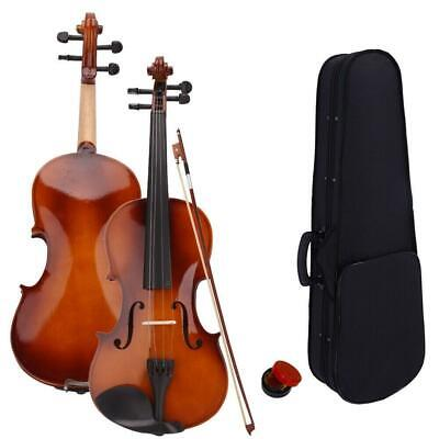 New Natural Color 4/4 Size Acoustic Violin +Case +Bow + Rosin