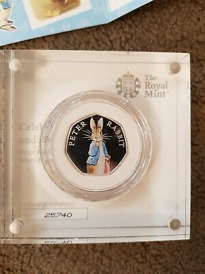 Royal Mint, 2019, Silver Proof Coloured Peter Rabbit 50P, Beatrix Potter
