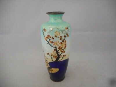 Beautiful Chinese Antique Cloisonne Vase with Floral Decoration and Blue Colours