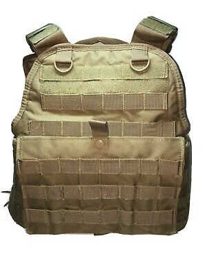 Tactical Military/Police MOLLE PALs Adj Plate Carrier Vest - Tan