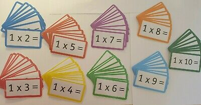 Times tables flash cards - 2 times table - 10 times table with answers