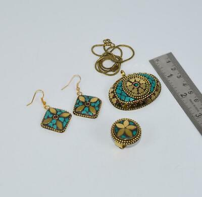 Wholesale 3Pc 925 Tibetan Brass Turquoise Ring Earring Necklace Set T643