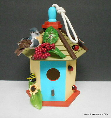 Wooden Indoor Bird House Hand Crafted & Painted Home Decor