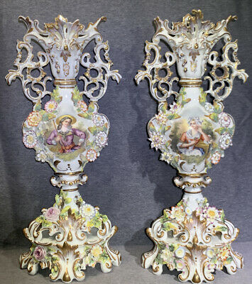Old Paris Porcelain Urns Vases Pair Applied Flowers And Scenes 23""