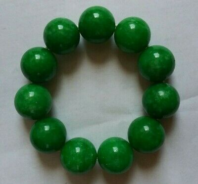 China deep green jade 11 beadss Elastic Bracelet 玉镯