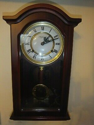 Vintage Highlands Wooden Wind Up Chiming Wall Clock with Pendulum