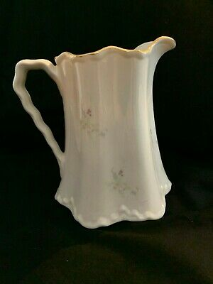 Vintage Victorian Style Water Pitcher Pleated Rim w/Floral Pattern & Gold Trim