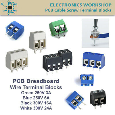 Screw Terminal Wire Cable Blocks 5mm 0.2 PCB Mount Stackable Connector Pack of 5