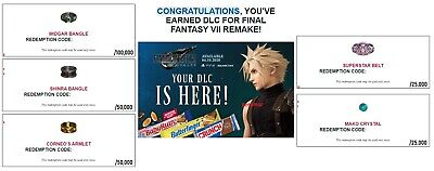Final Fantasy VII 7 Remake Butterfinger PS4 DLC Code Bangle Belt Mako Tifa Cloud