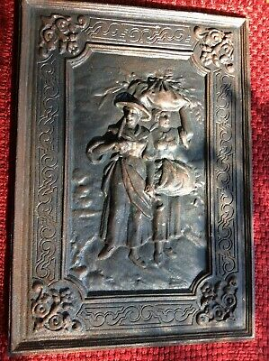 ANTIQUE CAST IRON FIREPLACE INSERT 1800's Figural design two woman
