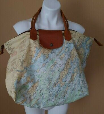 Casco Bay Maine Tote Travel Weekender and Makeup Carry On Bag Nylon and Leather