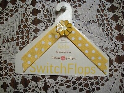 Lindsay Phillips SwitchFlops Straps - Yellow w/White Dots & Daisy -Kids Small