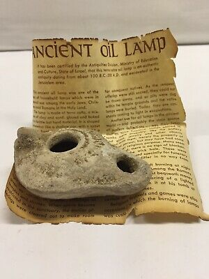 Authentic Ancient TerraCotta Oil Lamp Jerusalem Holy Land 100B.C.--300A.D.