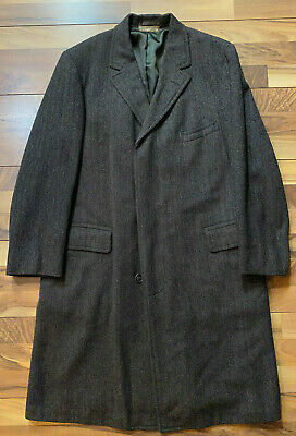 Brooks Brothers Mens Wool Brown Herringbone Overcoat Sz 52 L Large GUC