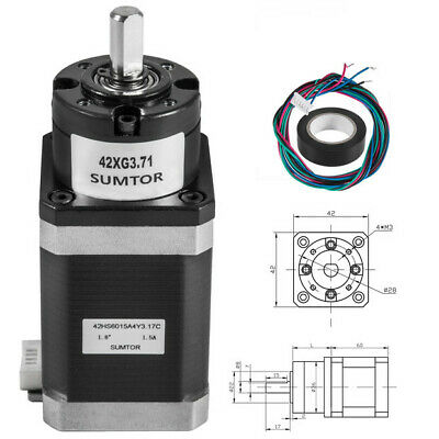 42 mm Planetary Gear Motor Nema 17 Stepper Motor 1:3.71 Gearbox Medium Body