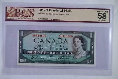 1954 Bank of Canada $1 Devils Face Note OA 0610000 Graded Almost UNC-58