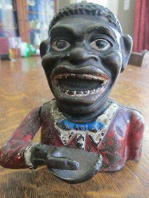Antique Fixed Eyes Cast Iron Jolly Bank 1910