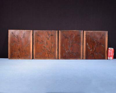 *Set of 4 Antique Oak Solid Wood Panels Carvings Salvage