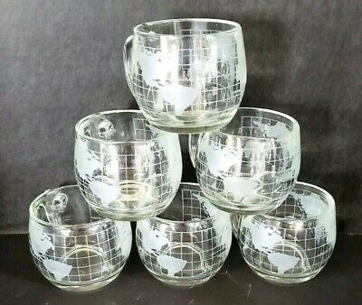 Vintage 1960s Set Of 6 World Globe MAP Etched Frosted Glass Coffee Cup/Mugs