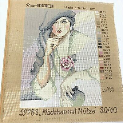 Rico-Gobelin Tapestry Canvas #59983 Girl with a Hat 30 x 40cm, Vintage W German