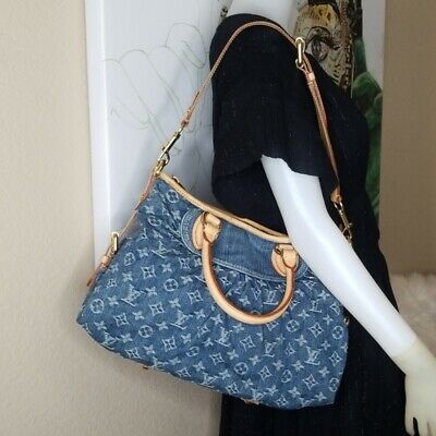 Authentic Louis Vuitton Monogram Denim Shoulder Hand Bag Neo Cabby MM Blue Gold