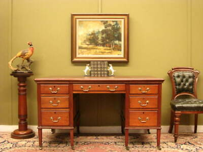 LARGE ANTIQUE MAHOGANY + LEATHER 5 DRAWER DESK / WRITING TABLE  c1900s