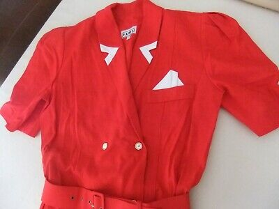 Ladies Vintage Katies Dress Sz 12 Double Breasted Buttons Pockets Red Bnc Dressy